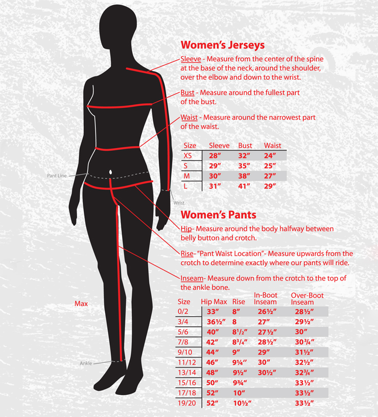 Fly racing size chart womens dirt bike pants and jerseys