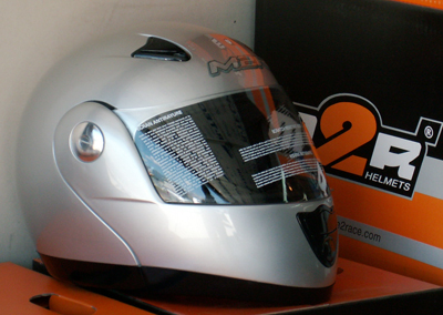 m2r 901 flip up helmet silver